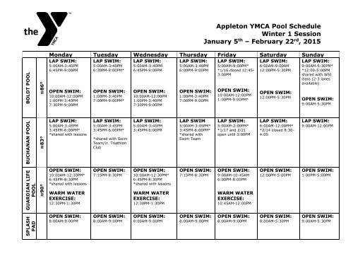 Appleton YMCA Pool Schedule Fall 1 Session September 9