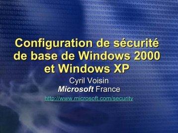 Sécurité Windows 2000 et Windows XP - OSSIR