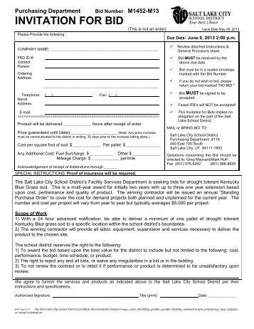 INVITATION FOR BID - Salt Lake City School District