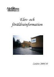 Elev- och föräldrainformation - Sävsjö kommun