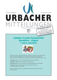 Jubiläum 10 Jahre Partnerschaft Szentlörinc - Urbach 7. bis 9. Juni ...