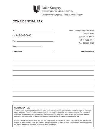 CONFIDENTIAL FAX - Duke University Medical Center