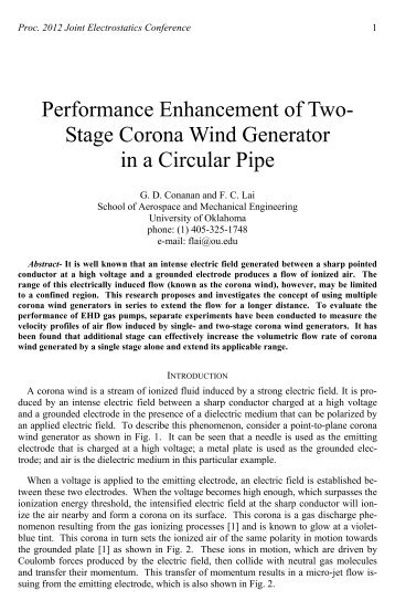 Performance Enhancement of Two- Stage Corona Wind Generator ...