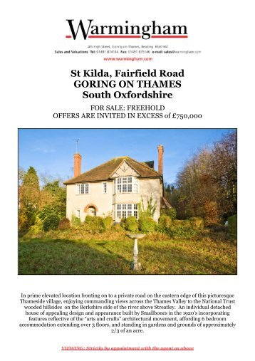 St Kilda, Fairfield Road GORING ON THAMES South ... - Warmingham