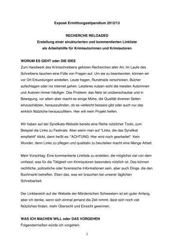 1 Exposé Ermittlungsstipendium 2012/13 ... - Das Syndikat