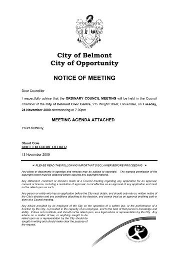 City of Belmont City of Opportunity