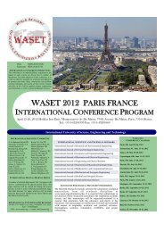 WASET 2012 PARIS, FRANCE - World Academy of Science ...