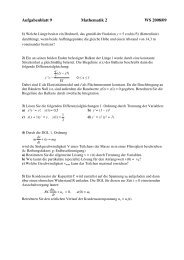Aufgabenblatt 9, Mathematik 2, WS 2008
