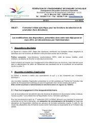OBJET : Formation initiale spécifique pour les fonctions de ... - SeGEC