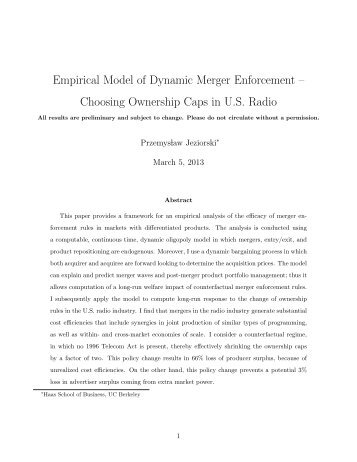Empirical Model of Dynamic Merger Enforcement – Choosing ...