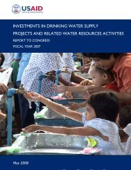 investments in drinking water supply projects and related water