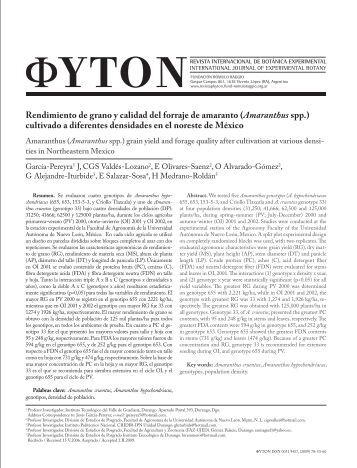 Rendimiento de grano y calidad del forraje de amaranto ... - Phyton