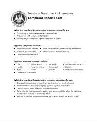 Complaint Report Form - Louisiana Department of Insurance