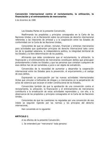 Convención Internacional contra el reclutamiento, la ... - Acnur
