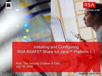 Getting started with RSA BSAFE® Share For JAVA™ Platform - EMC ...