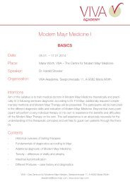 MMM I - Basic Course - VIVA - Das Zentrum für Moderne Mayr Medizin