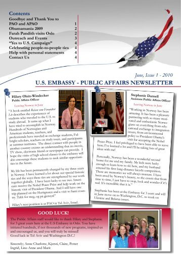 Newsletter_May 2010 - Embassy of the United States Oslo, Norway