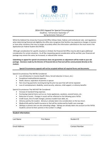 Special Circumstances Form - Oakland City University