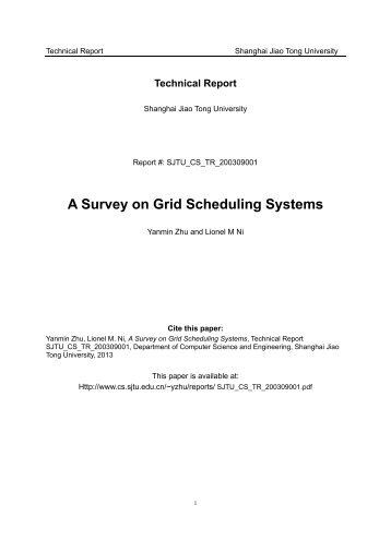 A Survey on Grid Scheduling Systems - Computer Science and ...