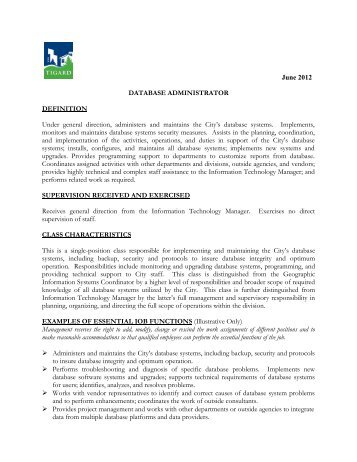 Job Title Database Administrator  Job Profile    Christian Aid