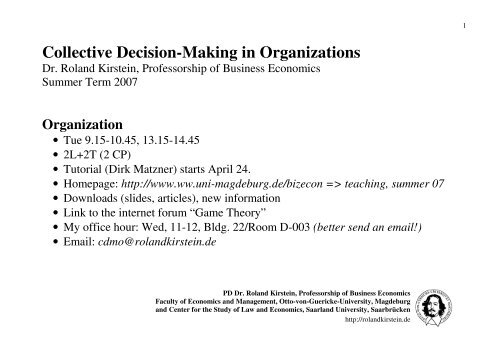 Collective Decision-Making in Organizations