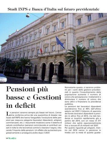 Pensioni più basse e Gestioni in deficit - CNA Pensionati
