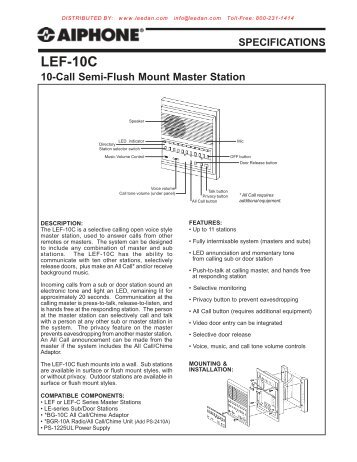 aiphone lef 10c 10 call semi flush mount master intercom station?quality\\\\\\\\\\\\\\\\\\\\\\\\\\\\\\\=85 aiphone lem 1dl wiring diagram aiphone intercom wiring diagram Aiphone Spec-Sheets at aneh.co