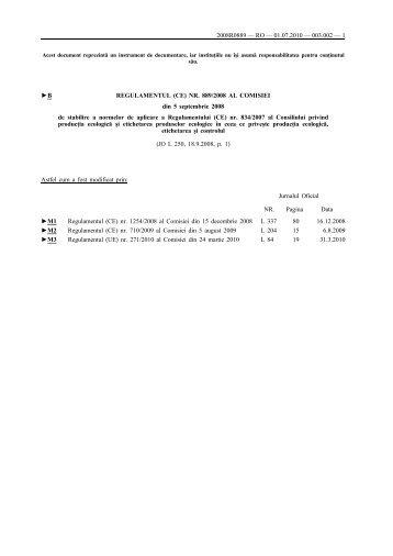B REGULAMENTUL (CE) NR. 889/2008 AL COMISIEI ... - EUR-Lex