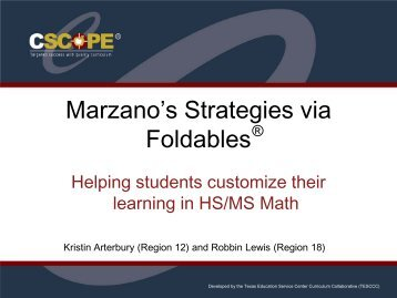 Marzano's Strategies via Foldables