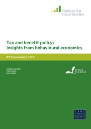 Tax and benefit policy - The Institute For Fiscal Studies