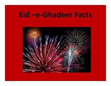 Eid –e-Ghadeer Facts - ALI