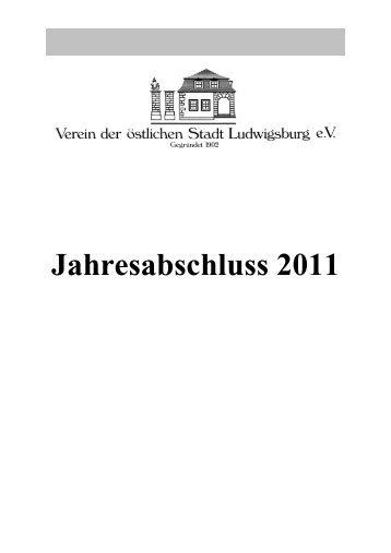 Kassenbericht 2011 - Oststadtverein Ludwigsburg