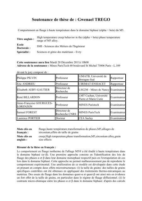Resume these_ Gwenael TREGO - MINES ParisTech