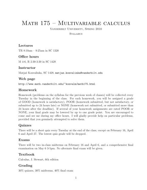 Math 175 – Multivariable calculus - Vanderbilt University
