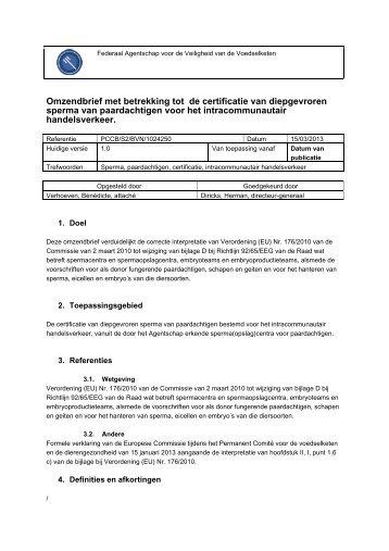 Omzendbrief met betrekking tot de certificatie van ... - Favv