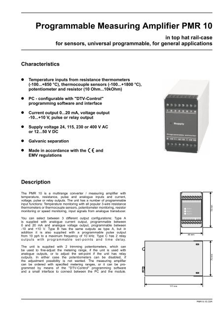Programmable Measuring Amplifier PMR 10 - Sensors