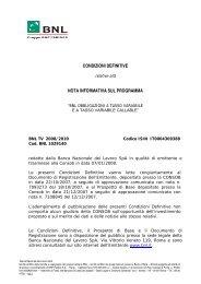 CONDIZIONI DEFINITIVE NOTA INFORMATIVA SUL ... - Bnl