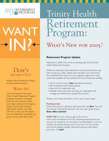 Distribution Request - Trinity Health Retirement Program