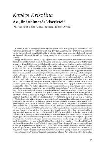 """Az """"önértelmezés kísérletei"""". N. Horváth Béla: A líra logikája. József ..."""