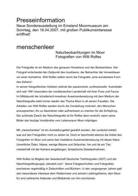 Neue Sonderausstellung im Emsland Moormuseum am Sonntag ...
