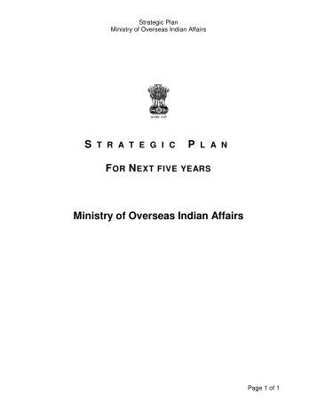 Strategic Plan - The Ministry of Overseas Indian Affairs