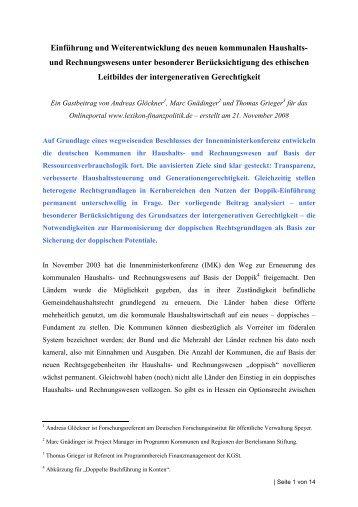 Einführung und Weiterentwicklung des neuen kommunalen ... - Doppik