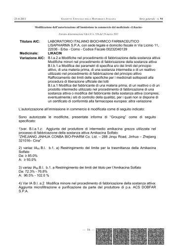 Titolare AIC: LABORATORIO ITALIANO BIOCHIMICO ... - Gazzette.info
