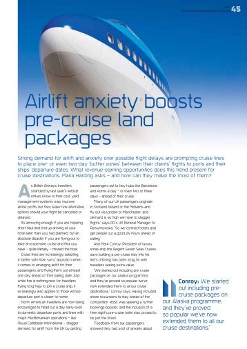 Airlift anxiety boosts pre-cruise land packages - Ashcroft & Associates