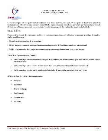 Plan stratégique de GCG de 2009 – 2012 : Version finale (Juillet ...
