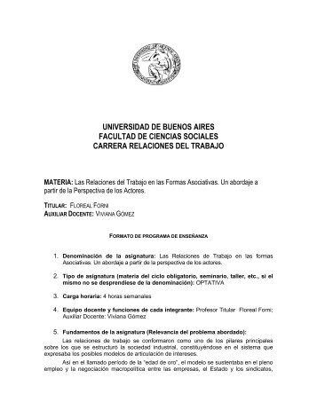Programas de enseñanza - Carrera de Relaciones del Trabajo ...