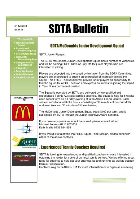 SDTA Bulletin - Southern Districts Tennis Association