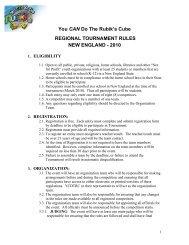 ne regional tournament rules - You CAN Do the Rubik's Cube!