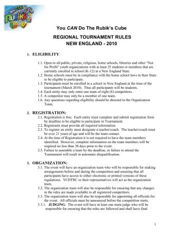 ne regional tournament rules - You CAN Do the Rubik's Cube!