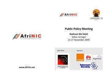 Public Policy Meeting Radisson Blu Hotel - AfriNIC
